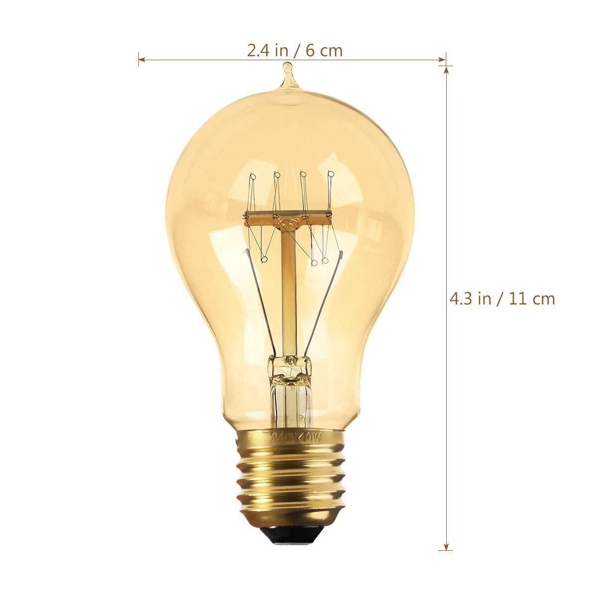 YUNLIGHTS A19 E27 Dimmbar Edison Gl/ühbirne im Vintage Stil 220-240V 40W 140lm Warmwei/ß Edison Lampe 2 St/ück
