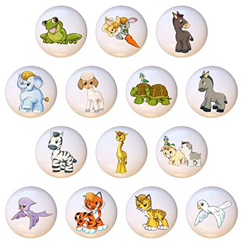 - SET OF 14 KNOBS - Noah's Ark Animals - DECORATIVE Glossy CERAMIC Cupboard Cabinet PULLS Dresser Drawer KNOBS