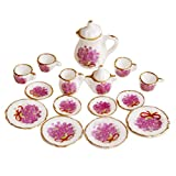 SODIAL Lot of 15 Purple Flower Porcelain Dollhouse Miniature Coffee Tea Cup Set