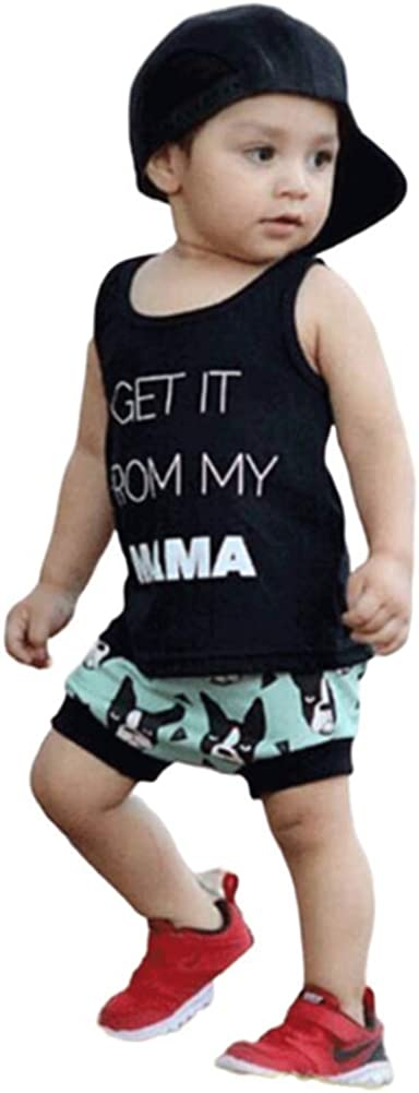 Short Pants Clothing Set,1-3Y taitaibaby Toddler Baby Boys Short Sets Summer Outfits Letter Print Black Sleeveless Tops