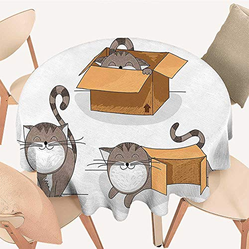 Price comparison product image Dragonhome Circular Table Cover Cartoon Cat Trying to Fit in Different Sized Cardboard Boxes Domestic Companion for Wedding Banquet,  51 INCH Round