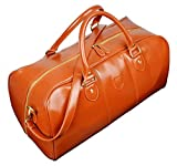 Kenox Men's Pu Leather Travel Bag Duffel Weekend Luggage Gym Sports Bag (Tan)