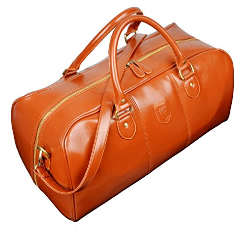 Luxury Travel Bag - Kenox Men's Pu Leather Travel Bag Duffel Weekend Luggage Gym Sports Bag (Tan)