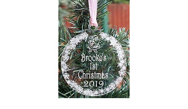 Bebé niñas 1st Navidad personalizado y grabado decoración de ...