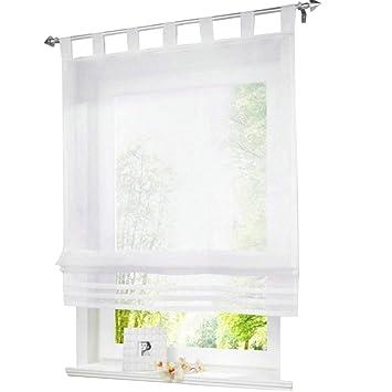 ESLIR Raffrollo mit Schlaufen Raffgardinen Gardinen Küche Transparent  Schlaufenrollo Vorhänge Modern Voile Weiß BxH 120x155cm 1 Stück