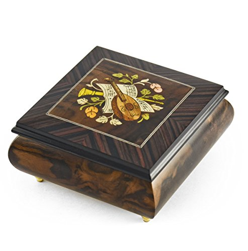 Hand-made 18 Note Italian Jewelry Box with Mandolin Wood Inlay - Torna A Sorrento (Return to Sorrento) Sorrento Italian Inlay