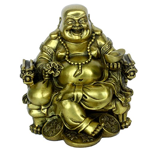 Chinese Fengshui Handmade Brass Dragon Chair Buddha Statue Golden Wealth Happy Buddha Figurine Home Decor Gift