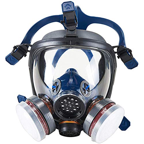 Organic Vapor Full Face Respirator Safety Mask, IVSUN Activated Carbon Respirator Paint Respirator Gas Chemical Dustproof Pesticides Mask (Respirator +1 Pair LDY3 - Cartridge Chemical
