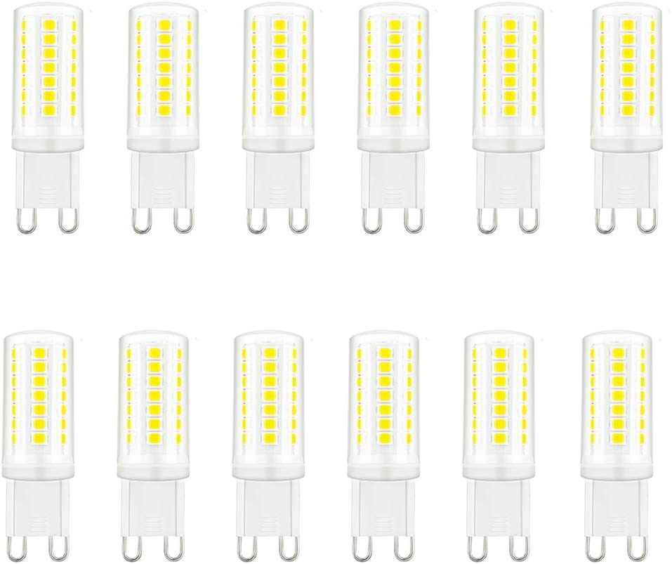 G9 LED Bulb Dimmable 5000K Daylight 3W (G9 Halogen Bulb 33 Watt-40Watt Equiv.),Bright White,G9 Bi Pin Base 120V 40w Bulb - for Chandelier,Candelabra,Sconce,Under Cabinet,Accent Lighting (12 Pack)