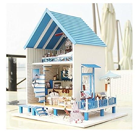 Amazon.es: Kit para construir casa de muñecas en miniatura (madera, incluye caja de música), diseño de casa de playa: Juguetes y juegos