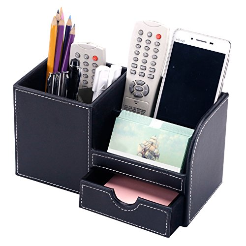 Decorative Executive Home Office - Executive Black Leatherette Desktop Office Supply Holder Caddy Organizer with Drawer