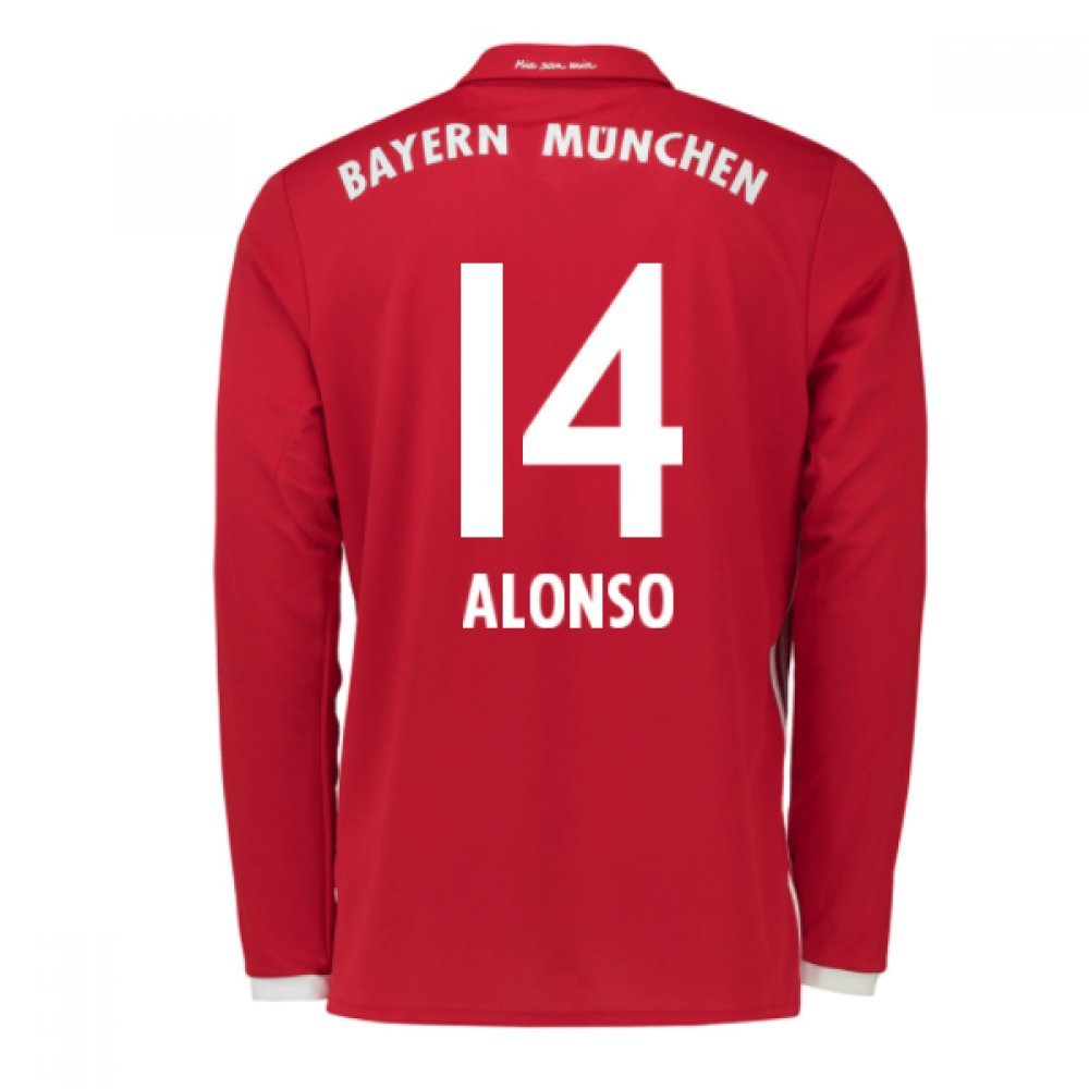 2016-17 Bayern Munich Long Sleeve Home Shirt (Alonso 14) B077Z4Q9T2Red Small 36-38\