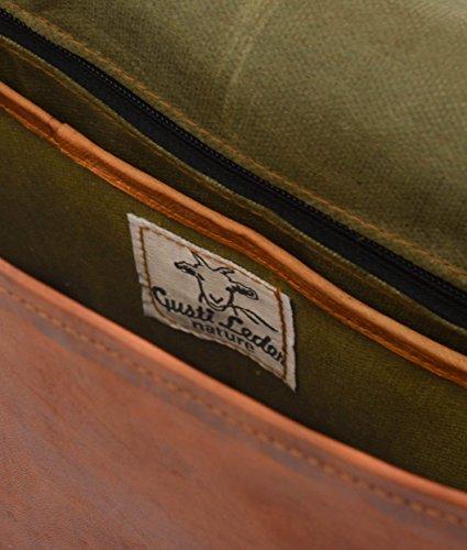 """Gusti Leder nature """"John"""" Bolso Bandolera De Piel Documentos A4 Clases College Universidad Trabajo Oficina Accesorio Portátil 15,4'' Carpetas Estilo Vintage Retro Unisex Mujer Hombre Marrón V61 Marrón - U2"""