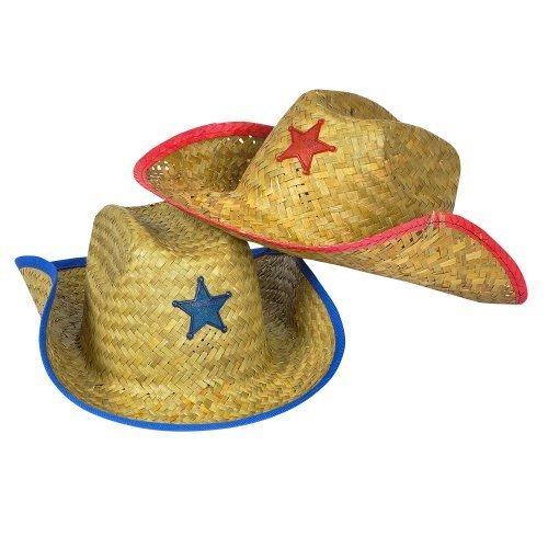 [Kids Straw Cowboy Sheriff Hat w/Star (2 Pack)] (Child Red Cowboy Hat)