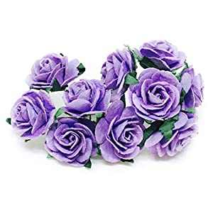 "1"" Purple Paper Flowers Paper Rose Artificial Flowers Fake Flowers Artificial Roses Paper Craft Flowers Paper Rose Flower Mulberry Paper Flowers, 20 Pieces 2"