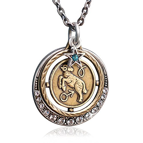 Sweet Romance Aries Zodiac Sign Astrology Pendant Necklace - March and April Birthday Gifts