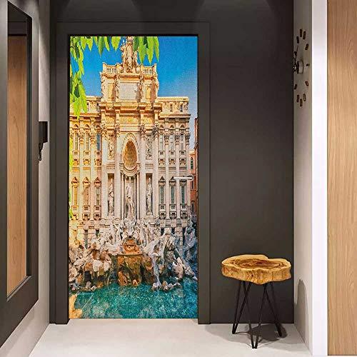 Onefzc Glass Door Sticker Decals Italy Fountain Di Trevi Famous Travel Destination Tourist Attraction European Landmark Door Mural Free Sticker W36 x H79 Multicolor