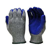 G & F 1511M-DZ Rubber Latex Coated Work Gloves for Construction, Blue, Crinkle Pattern, Men
