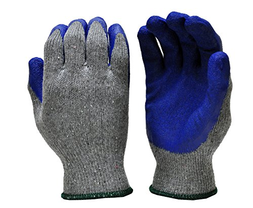 G & F 1511M-DZ Rubber Latex Coated Work Gloves for Construction, Blue, Crinkle Pattern, Men's Medium (Sold by dozen, 12 -