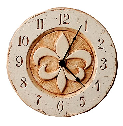 Piazza Pisano Fleur di lis French Wall Clock - Created from original sculpted art by artist Al Pisano Hand painted and hand stained Measures 14 inch diameter - wall-clocks, living-room-decor, living-room - 51%2BbHafOS9L -