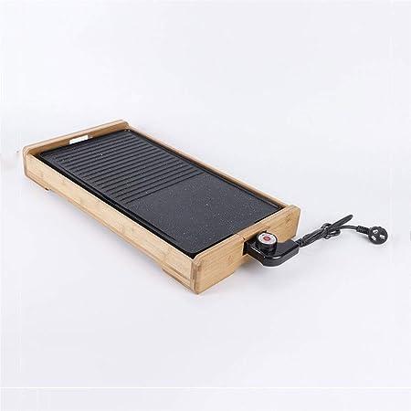 AMAZACER Home Style Parrilla eléctrica sartén Plancha de bambú sin ...