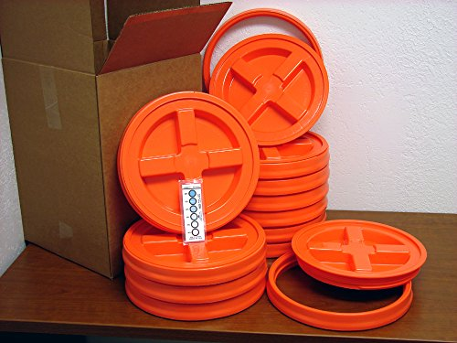 Gamma Seal Lid, Orange, 12 Pack - New! - Boxed! - 5 Gallon B
