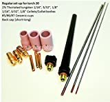 WeldingCity TIG Torch Accessory Kit AK4 Collet-Cup-Tungsten-Cap 1/16''-3/32''-1/8'' for Torch 20 Series AK4