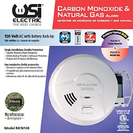 Universal Security Instruments Hardwired 2-in-1 Carbon Monoxide & Natural Gas Smart Alarm with Battery Backup, Model MCN108 - Combination Explosive Gas ...