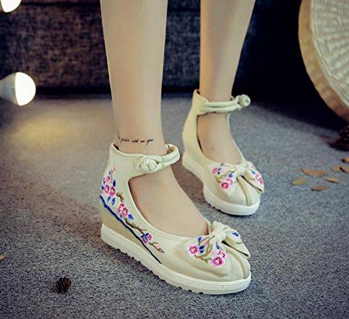 WXT Zapatos bordados, lino, lenguado del tendón, estilo étnico, zapatos femeninos aumentados, manera, cómodo, ocasional meters white
