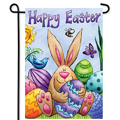 Happy Easter Day Garden Flag Bunny Eggs Decorative for Garden and Home Decorations, Double Sided Flag 12.5 x 18 Inches