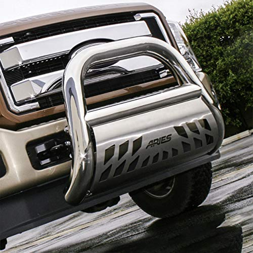 ARIES 45-5006 Big Horn 4-Inch Polished Stainless Steel Bull Bar Select Dodge, Ram 1500, 2500, 3500