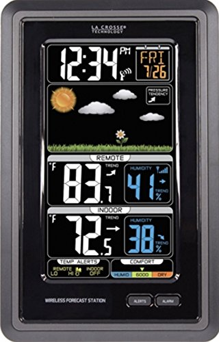 Wireless Atomic Weather Station - La Crosse Technology S88907 Vertical Wireless Color Forecast Station with Temperature Alerts
