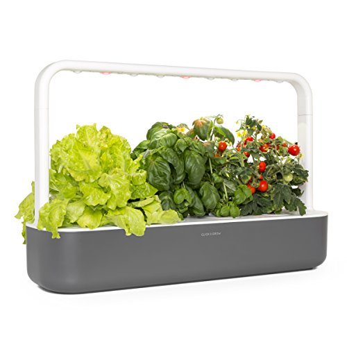 Click and Grow Smart Garden 9 Indoor Home Garden (Includes 3 Mini Tomato, 3 Basil and 3 Green Lettuce Plant pods), Gray