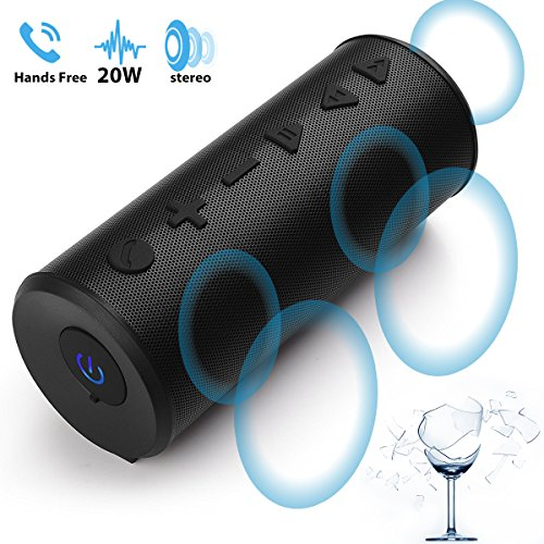 Bluetooth-Speakers-Portable-Wireless-Speaker, Mix Hero T102Plus 20W Big Migicbox Stereo Loud Speaker with Bluetooth Bass Volume Long Range Built-in Mic for Cell Phone Android Home Outdoor Party ()