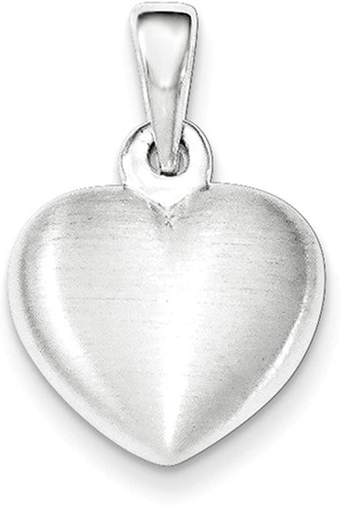 .925 Sterling Silver Satin Heart Charm Pendant