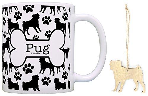 Pug Christmas Ornament & Pug Coffee Mug Tea Cup Bundle Dog Lover Stocking (Pug Christmas Stocking)
