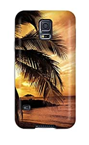 Rugged Skin Case Cover For Galaxy S5- Eco-friendly Packaging(beach Earth)