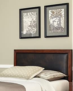 Home Styles Duet Queen Panel Headboard, Brown Leather Inset