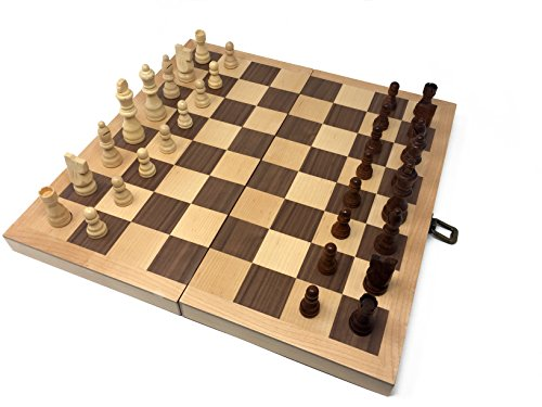 "Hansen Games Classic Natural Wood Wooden Chess Set 15"" Inlaid Board with Hand Carved Chessmen and Storage (Solid Brass Chess Pieces)"