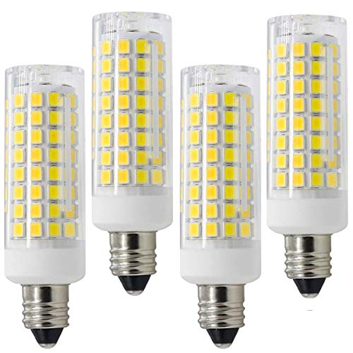 E11 LED, All-New Dimmable E11 Candelabra Base Bulbs, 75W 100W Equivalent, 120V 8W JD T4 Bulb, 102X2835SMD 360 degree Indoor lighting (Pack of 4) (Cool White) (Difference Between Soft White And Daylight Bulbs)
