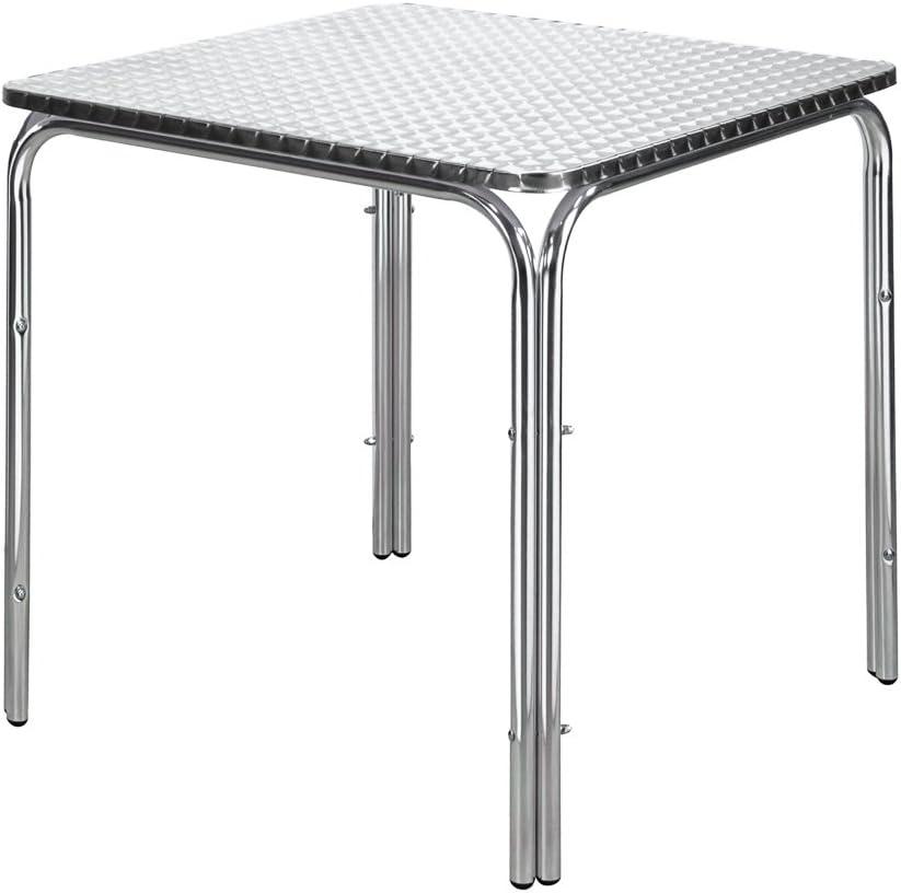 Mesa de bar clásica plateada de aluminio de hostelería Garden ...