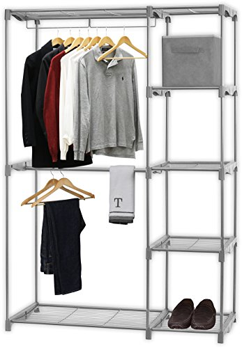 (Simple Houseware Freestanding Clothes Garment Organizer Closet, Silver)