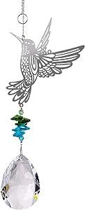 LONGSHENG - SINCE 2001 - Hummingbird Hanging Suncatcher Crystal Glass Prisms Ornament Garden Home Decor Gift