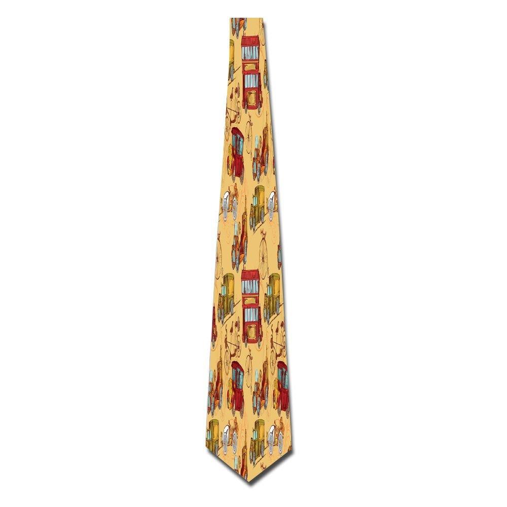 WuLion Steampunk Inspired Vintage Means Of Transportation Colorful Retro Design Men's Classic Silk Wide Tie Necktie (8 CM)