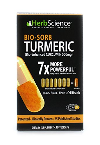 HerbScience Bio-Sorb Turmeric, Bio-Enhanced Curcumin, Advanced Absorption, Cardiovascular Health, Joints Support and Anti-Aging Supplement, 30 Servings