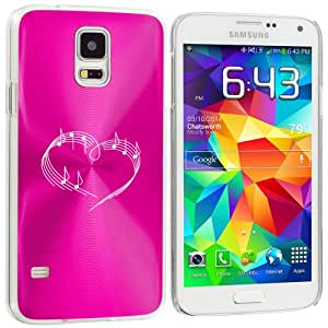 Samsung Galaxy S5 Aluminum Plated Hard Back Case Cover Heart Love Music Notes (Hot Pink)