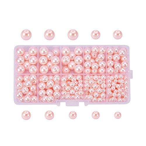 PandaHall Elite About 340 Pcs Tiny Satin Luster Glass Pearl Bead Round Loose Spacer Beads 5mm 6mm 8mm 10mm for Jewelry Making Pink