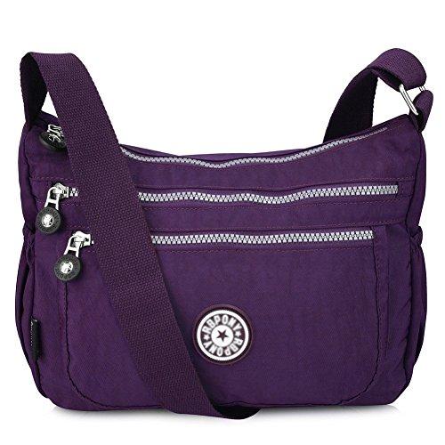 Vbiger Shoulder Bags Messenger Handbags Multi Pocket Waterproof Crossbody Bags (Light - Purple Cross Body Bag