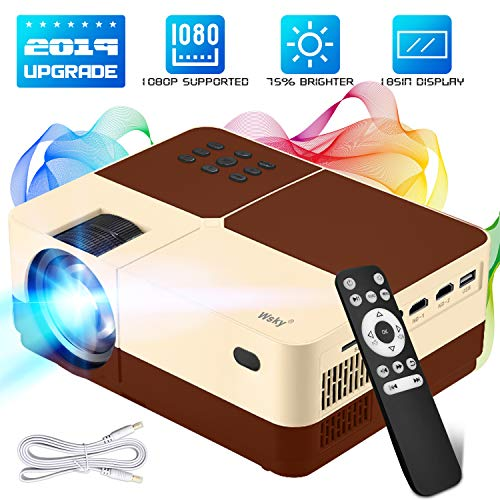Wsky Portable Home Theater Video Projector – Newest 2019 3000Lux HD Video Projector – Support 1080P 1920×1080 Resolution – Perfect for Watching Movies Home Entertainment or Gift Giving (Brown)