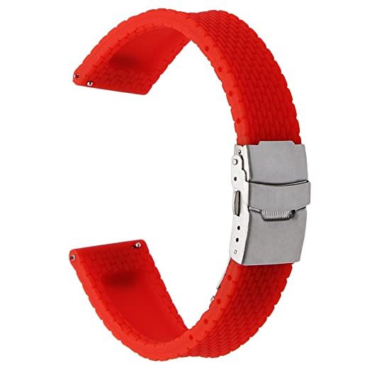 TRUMiRR 24mm de liberación rápida de Goma de Silicona Banda Banda de Reloj Deportivo para Sony Smartwatch 2 SW2, Suunto Traverse, Otros Relojes con ...